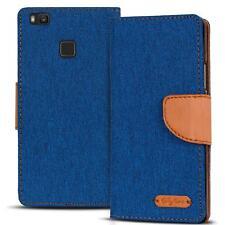 Handy Tasche Huawei P9 Lite Book Case Hülle Klapphülle Flip Cover Blau