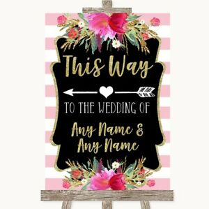 Wedding Sign Poster Print Gold & Pink Stripes This Way Arrow Left