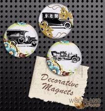 Antique Car Magnets, Set of 3 Handmade Fridge Magnets, School Locker Gift Set