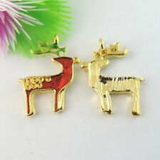 Cute Enamel Christmas Deer Shaped Gold Alloy Jewelry Pendants Charms 15pcs/lot