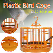 Bird Cage Plastic Hanging Feed Parrot Pet Portable Square Travel Carrier Holder