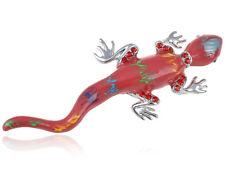 Alloy Crystal Rhinestone Pin Brooch Exotic Orange Lizard Crazy Reptile Designed