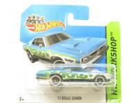 Hotwheels 71 Dodge Demon 217/250 Blue HW Workshop Short Card 1 64 Scale Sealed