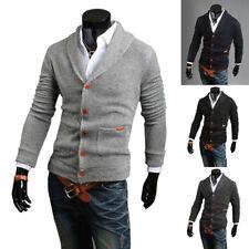 Elegante Hombre Corte Slim cuello en V de punto Jersey Cárdigan Chaqueta Suéter