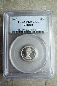 1965 Canada silver specimen SP proof ten 10 cents **PCGS PR-66 Cameo**