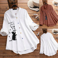 Womens Cat Print Long Sleeve Blouse Casual Ladies Button Shirt Tops Basic Tee