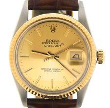 Rolex Datejust 16013 Masculino De Aço Inoxidável Relógio De Ouro 18K Mostrador Champanhe Marrom