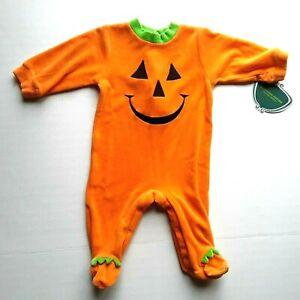 Baby PUMPKIN Footed SLEEPERS Infant-6 mos Orange Halloween Snap Crotch Pajamas
