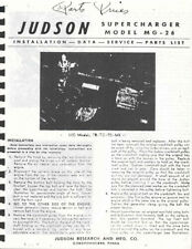 Judson Supercharger  Model MG-26 Service data