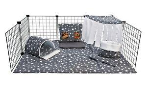 C&C fleece cage liner set, guinea pig, small animals, grey stars.
