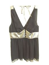 5469) NWT GUESS sz M 8 black silk cami tank top silver fitted bust front buttons