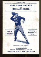 1940 New York Giants v Bears Program 10/27 Chicago Champs Polo Grounds Ex