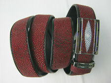 size 47, handmade red genuine stingray leather mens belt 1.3x49 inches MB38V