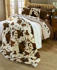 RODEO COWHIDE Queen BLANKET : BROWN FAUX FUR SHERPA RANCH COW BULL FARM ANIMAL