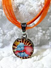 New Disney Dumbo 18mm Snap Chuck Charm On Orange Ribbon Cord Necklace N 592
