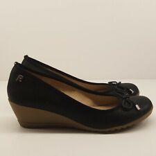 Ladies Wedge Heel UK 6 Black Cushion Comfort Fabric Slip On Rubber Sole Career