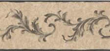 Acanthus Leaf Black Arabesque Scroll on Beige & Tan Linen Wallpaper Border