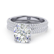Proposal 14K White Gold Size 7 8 9 Real 1.40 Ct Diamond Engagement Ring Set For