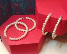 Large Freshwater Pearl Sterling Silver Hoop Earrings (2 in)