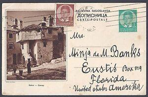 YUGOSLAVIA 1938 US UPRATED POSTAL CARD SUSAK TO FLORIDA