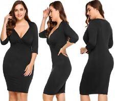 LADIES Plus Size Women 3/4 Sleeve V Neck Evening Party Bodycon Sexy Dress PL