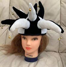 New Black White Funny Jester Clown Joker Hat Cap With Bells Comedy Fun Festival