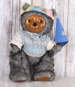 Robert Raikes Reginald Bear V Neck Sweater Bow Wood Face Paws 1986 Very Rare