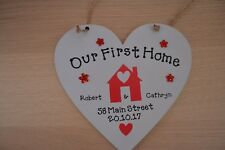 Personalised handmade heart Plaque OUR FIRST HOME Gift  Keepsake