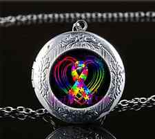 Autism Ribbon on Heart Glass Tibet Silver Chain Locket Pendant Necklace