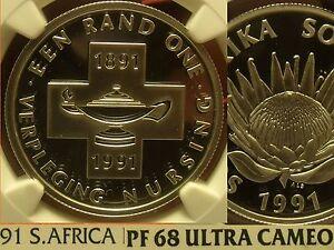Afrique Du Sud 1991 Rand NGC Preuve 68 Ultra Camée ~ Allaitement 100 Ans