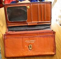 TRUE Vintage Princess Gardner brown Patina Leather Clutch organizer snap Wallet