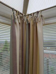 John Lewis Puritan Stripe Curtains Fennel Ivory Aubergine 140 cm L x 123 cm wide