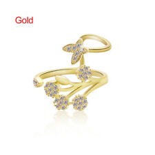 Korean Style Women Chic Butterfly Trees Rhinestone Adjustable Opening Size Ring Gold