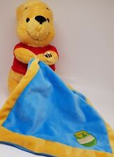 DOUDOU PELUCHE WINNIE L'OURSON JAUNE ROUGE MOUCHOIR BLEU POT DE MIEL ABEILLE