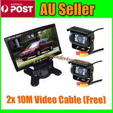 "7"" LCD Monitor Car Rear View Kit + 2x 18 IR Reversing Camera for Long bus Truck"