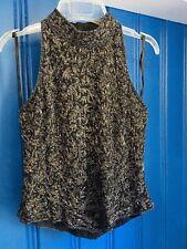 Vintage Beaded Glittery Black Top Shirt Med