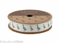 Shabby Chic 100% Cotton Blue DUCK Ribbon Cards Craft Gift Wrap 5 meter Roll!