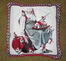 Père Noël Claus W / LUTINS Noël tapisserie carré oreiller ~ Norman Rockwell
