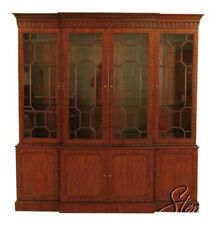 45438Ec: Maitland Smith Large Mahogany Breakfront Bookcase Cabinet