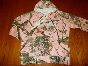 CABELAS ZONZ WOODLANDS CAMOUFLAGE HOODED SWEATSHIRT WOMENS LARGE EXCELLENT COND.