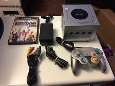 Nintendo GameCube Silver Console Bundle W/ Wwe Wrestlemania 19 Fully Tested