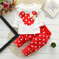 2Pcs Baby Girl Minnie Mouse Long Sleeve T-Shirt & Pant Set Kids Sportwear Outfit