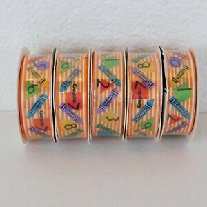 """Lot of 5 Crayola Color Fun 7/8"""" x 8' Ribbon Spools Grosgrain Crayon School Craft"""