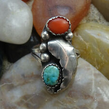Vintage Navajo Turquoise + Coral Ring with Feather Size 6 1/2 in Sterling Silver