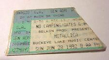 Metallica Ticket Stub Columbus Ohio Buckeye Lake 1992