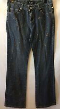 Daisy Fuentes Size 8 Jean Medium Wash Boot Cut Paint Splatter Bling Rhinestones