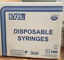 Exel Luer Lock 3ml 3cc 25g X 1inch Disposable Syringe 26111 Box Of 100