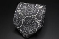 CHARVET Place Vendome Silk Tie. Gray w White Whimsical Floral Print.