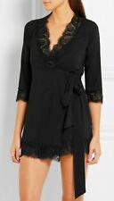 l' Agent Provocateur wrap robe S black chiffon lace trim NEW gown super soft