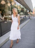 BANANA REPUBLIC 785102 WOMENS White Laser Cut Pleated Midi Dress